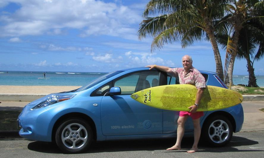 Dan, the Nissan Leaf, and his surfboard